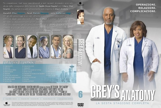 dvd cover Grey's Anatomy: Season 6 (italian) - Front
