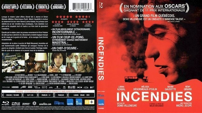 dvd cover Incendies French English Bluray