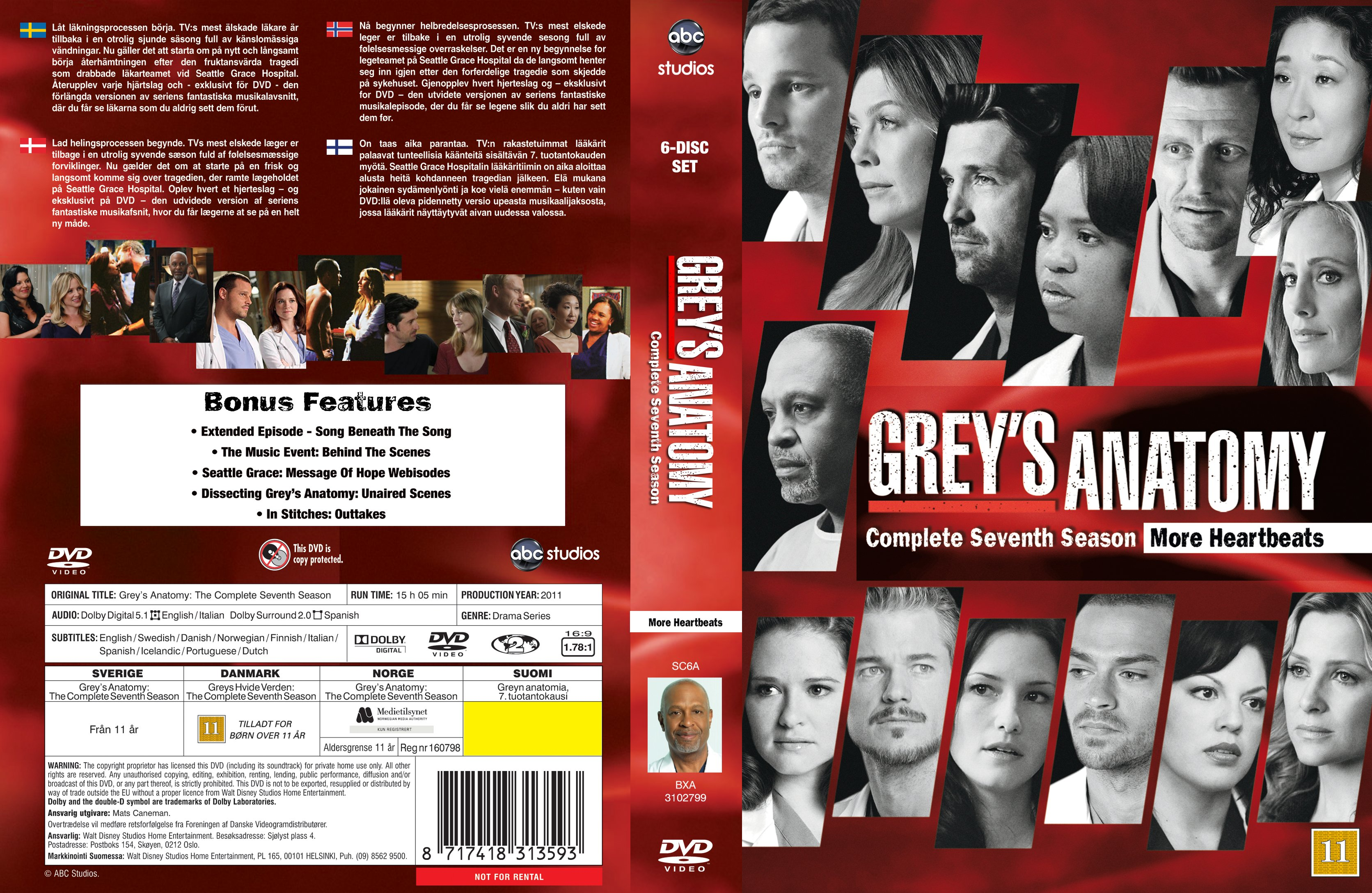 Greys Anatomy Season 7 Front Dvd Covers And Labels