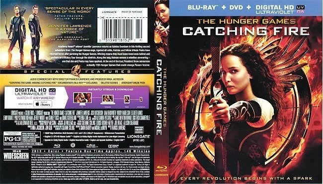 dvd cover The Hunger Games: Catching Fire R1 Blu-Ray