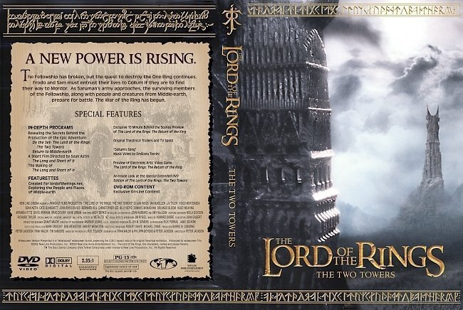 dvd cover Lord of Rings: The Two Towers