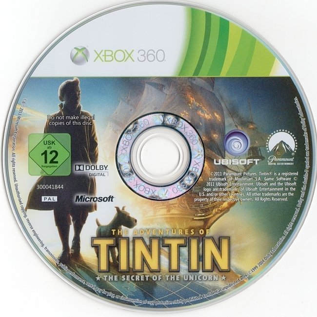 dvd cover The Adventures of TinTin: The Secret of the Unicorn (2011) PAL