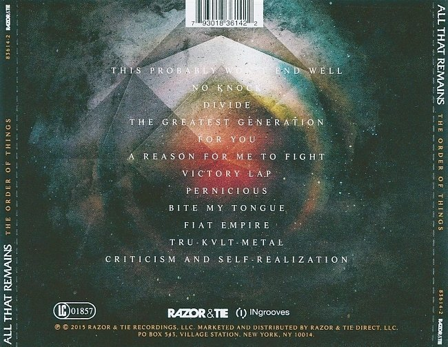 dvd cover All That Remains - The Order Of Things