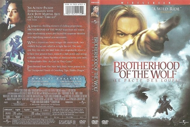dvd cover Brotherhood Of The Wolf (2001) WS R1