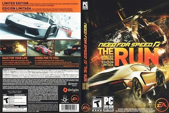 dvd cover Need for Speed The Run