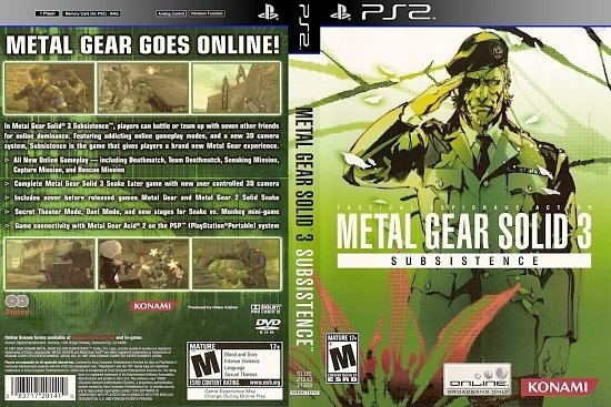 dvd cover MGS3