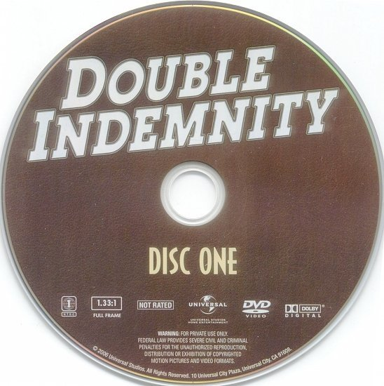 dvd cover Double Indemnity (1944) R1