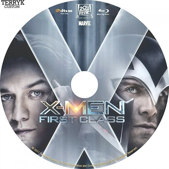 dvd cover X-Men First Class (2011) Custom Blu-Ray DVD Label