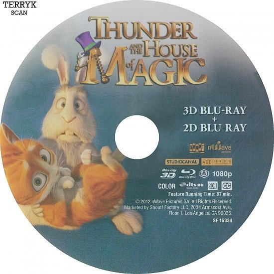 dvd cover Thunder and the House of Magic 3D Blu-Ray Label