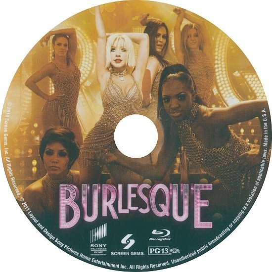 dvd cover Burlesque (2010) Blu-Ray DVD Label