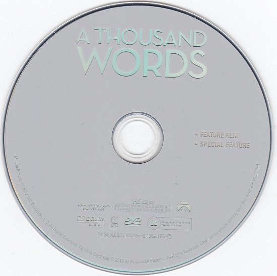 dvd cover A Thousand Words WS R1