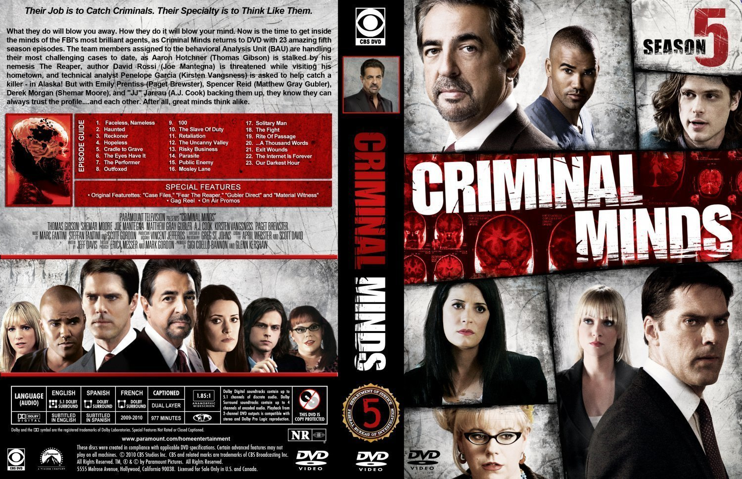 Criminal Minds Season 5 | Dvd Covers and Labels