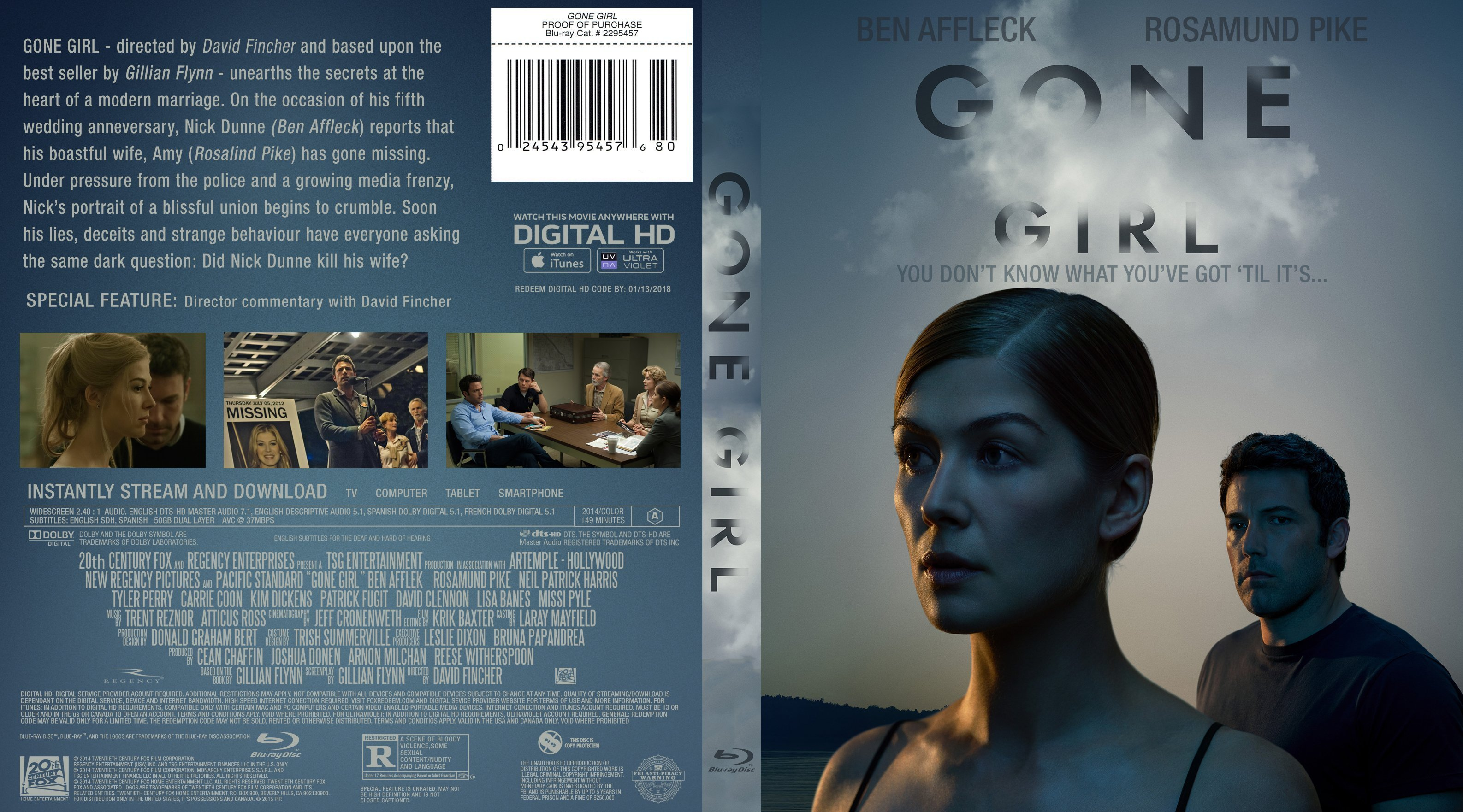 Gone Girl Blu Ray R1 Custom Dvd Covers And Labels