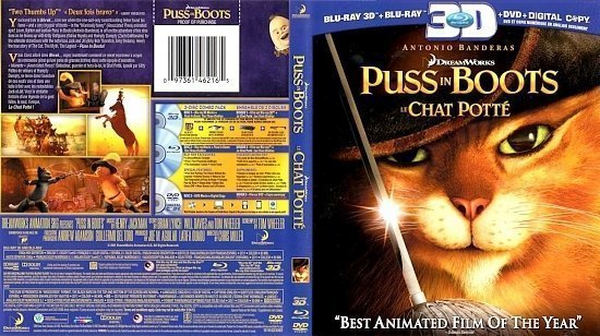 dvd cover Puss In Boots 3D Le Chat Potte 3D