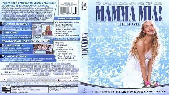 dvd cover Mama Mia (2008) Blu-Ray