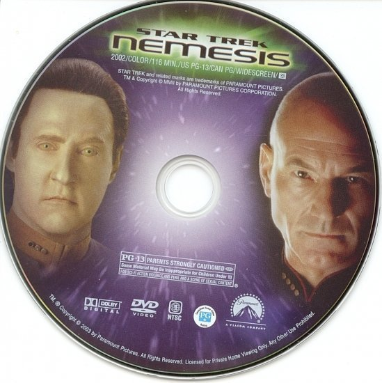 dvd cover Star Trek: Nemesis (2002) WS R1