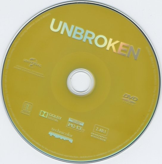 dvd cover Unbroken Blu-Ray & Label