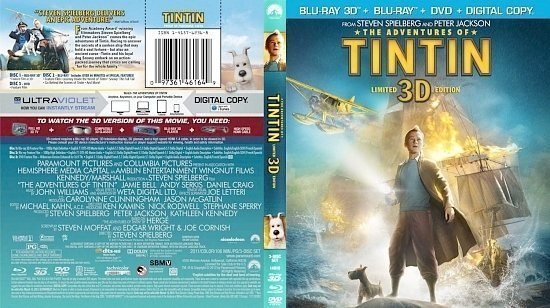 dvd cover The Adventures Of TinTin 3D