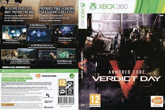 dvd cover Armored Core Verdict Day Xbox 360