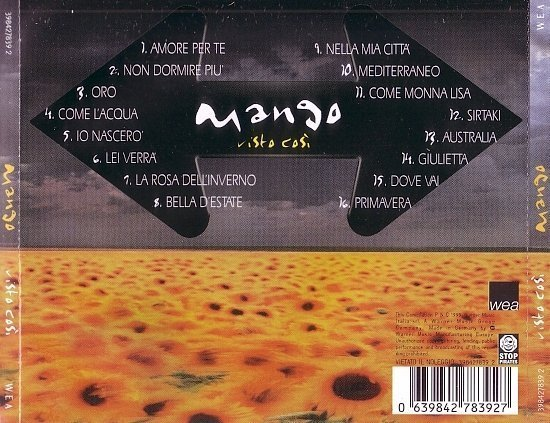 dvd cover Mango - Visto Così (1999)