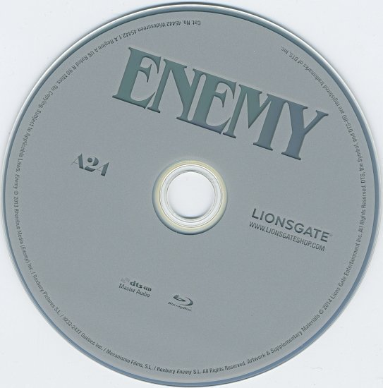 dvd cover Enemy Blu-Ray