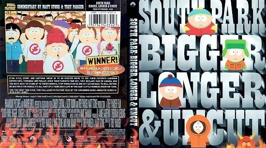 dvd cover South Park Bigger, Longer & Uncut