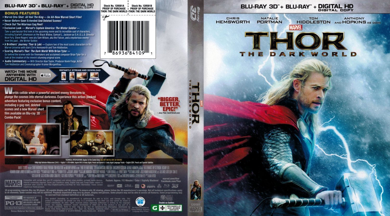 Thor The Dark World 3D Scanned Bluray | Dvd Covers and Labels