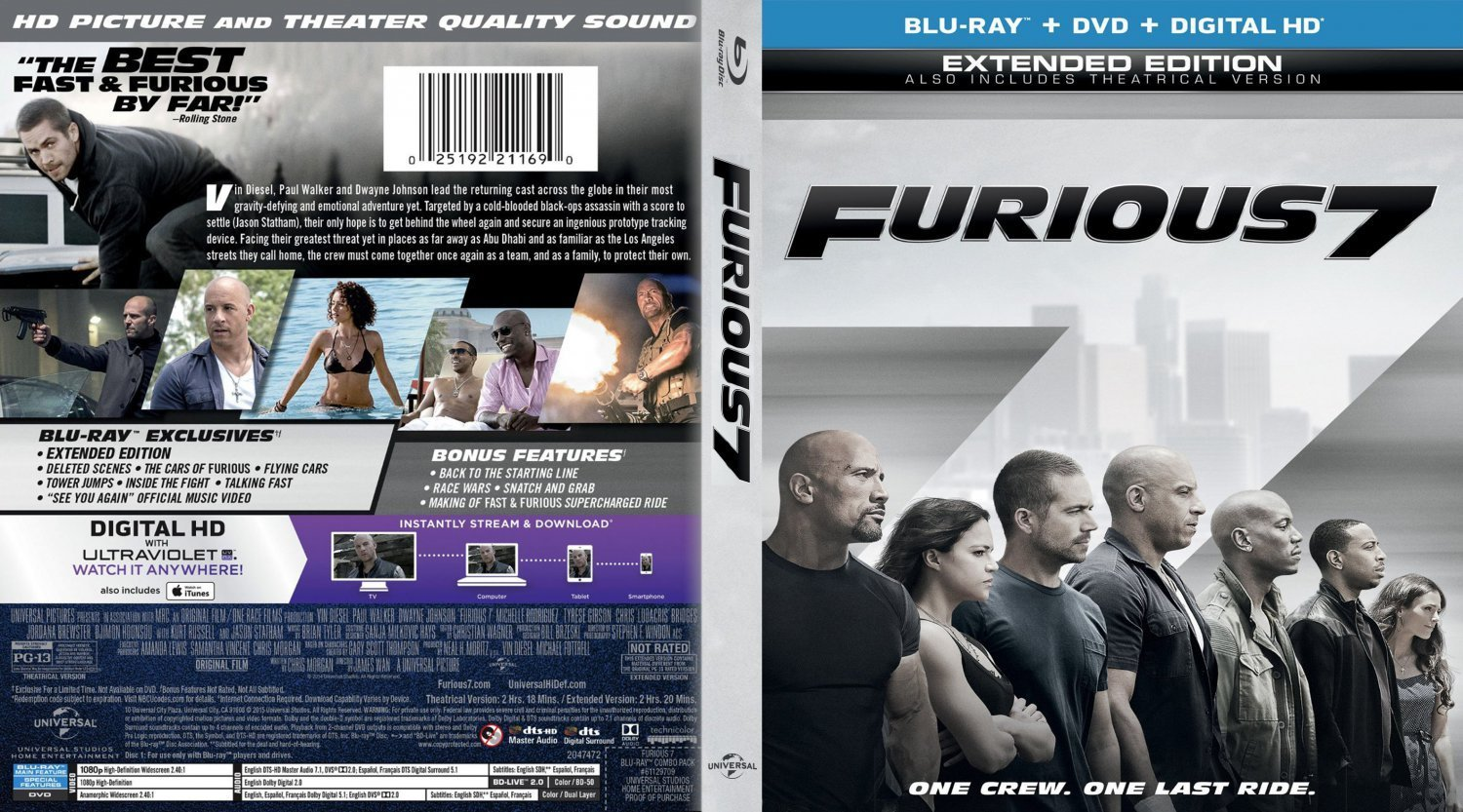 furious 7 blu ray 2 dvd covers and labels. Black Bedroom Furniture Sets. Home Design Ideas
