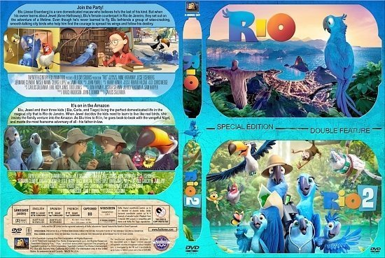 dvd cover Rio / Rio 2 Double Feature