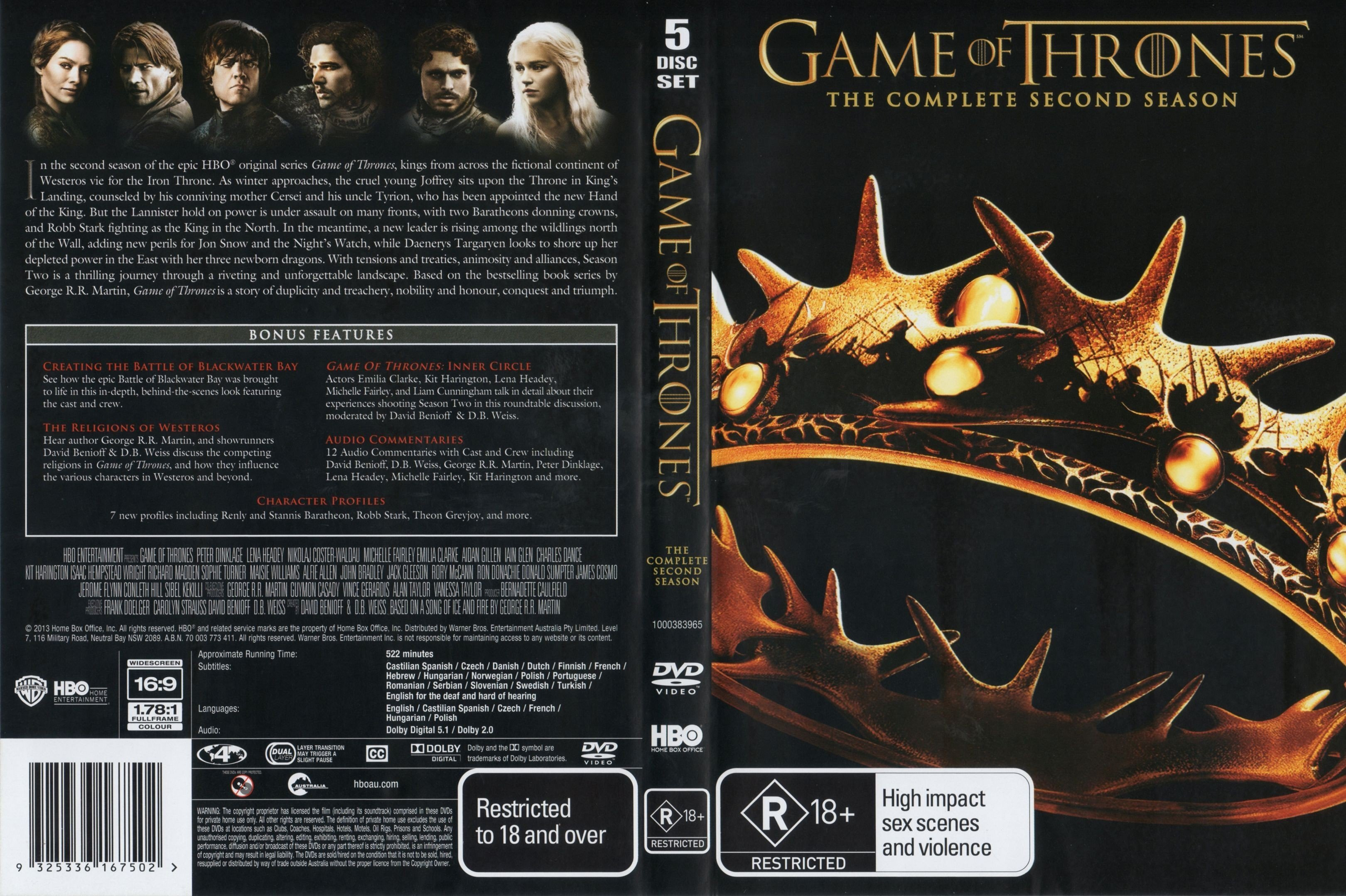Game Of Thrones: Season 2 R4 | Dvd Covers and Labels