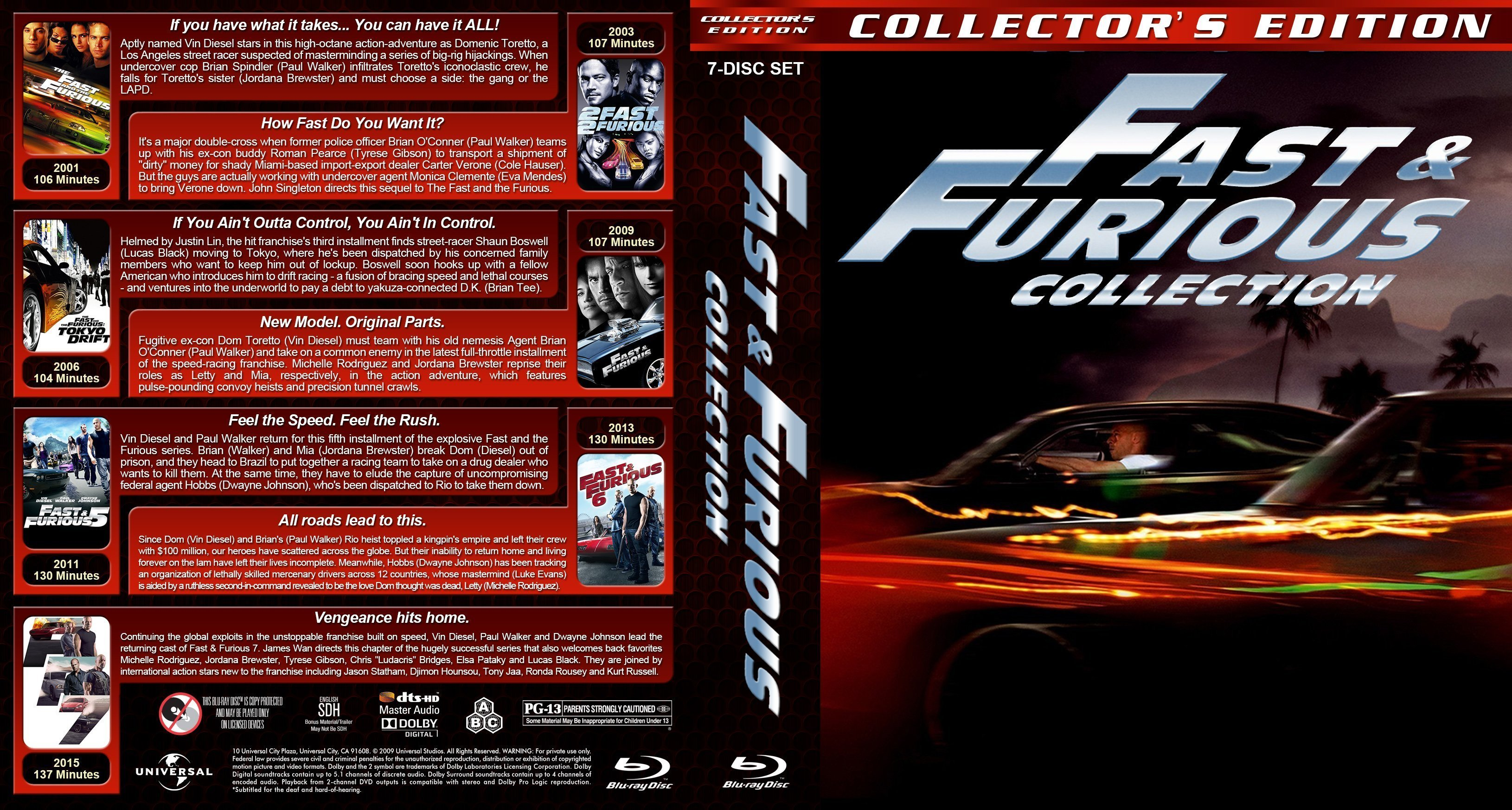 fast furious 7 movie collection 2001 r1 custom blu ray covers dvd covers and labels. Black Bedroom Furniture Sets. Home Design Ideas