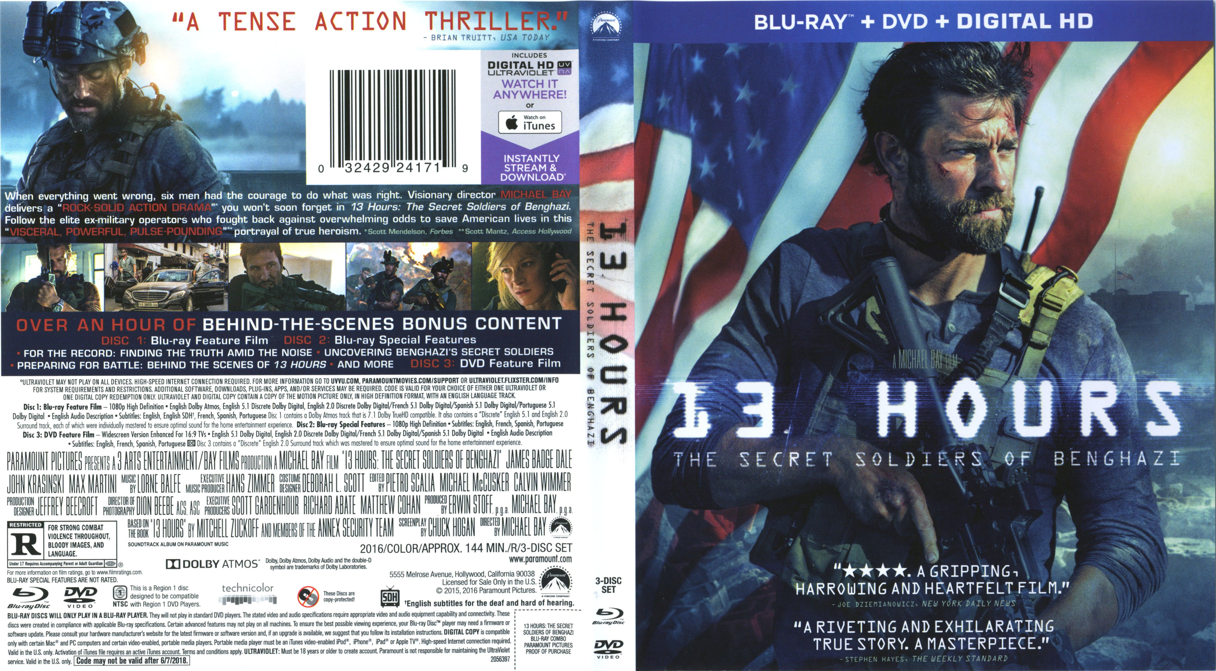 13 Hours The Secret Soldiers Of Benghazi 2016 R1 Blu Ray