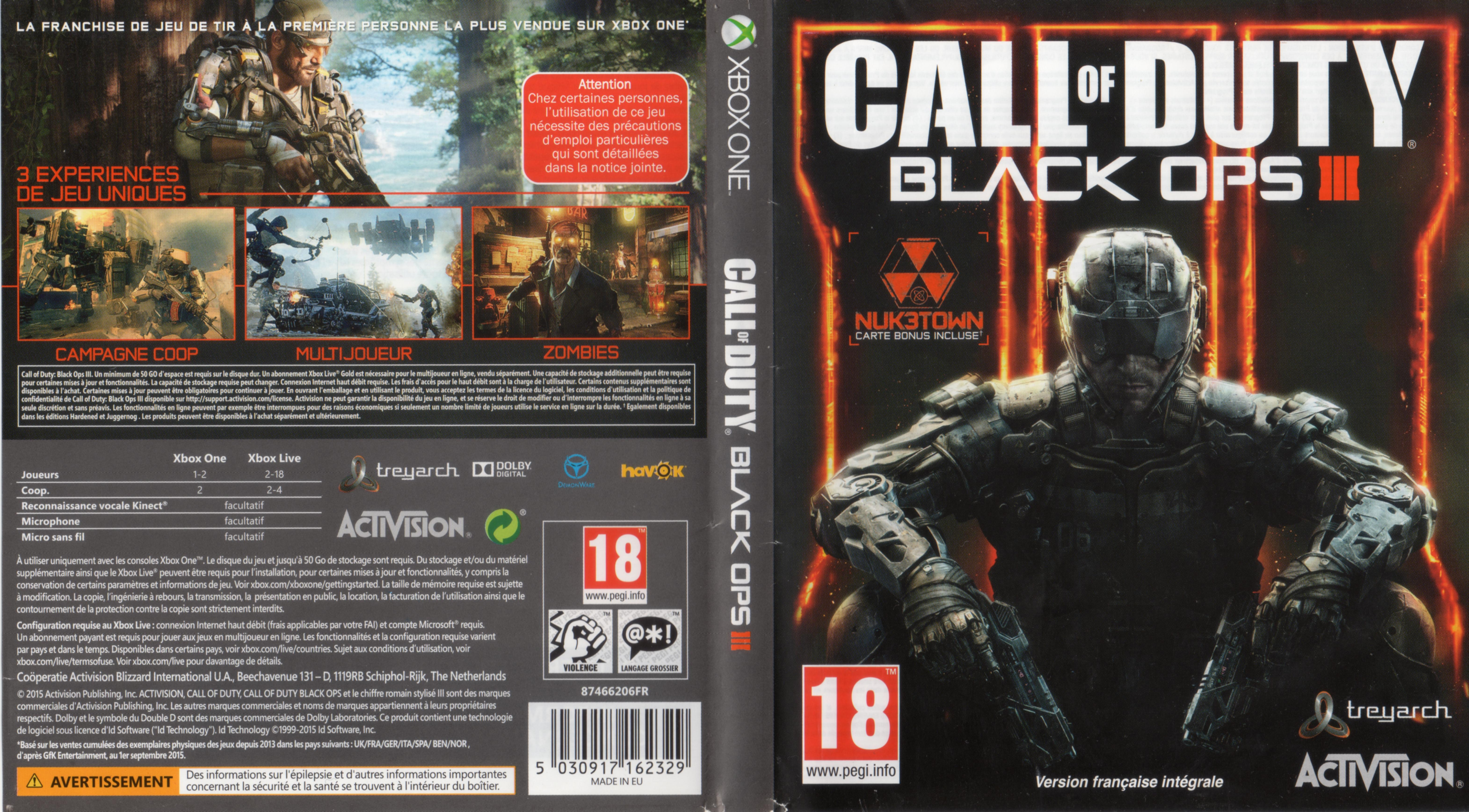 Call of Duty Black Ops 3 XBOX ONE French Cover & Label | Dvd