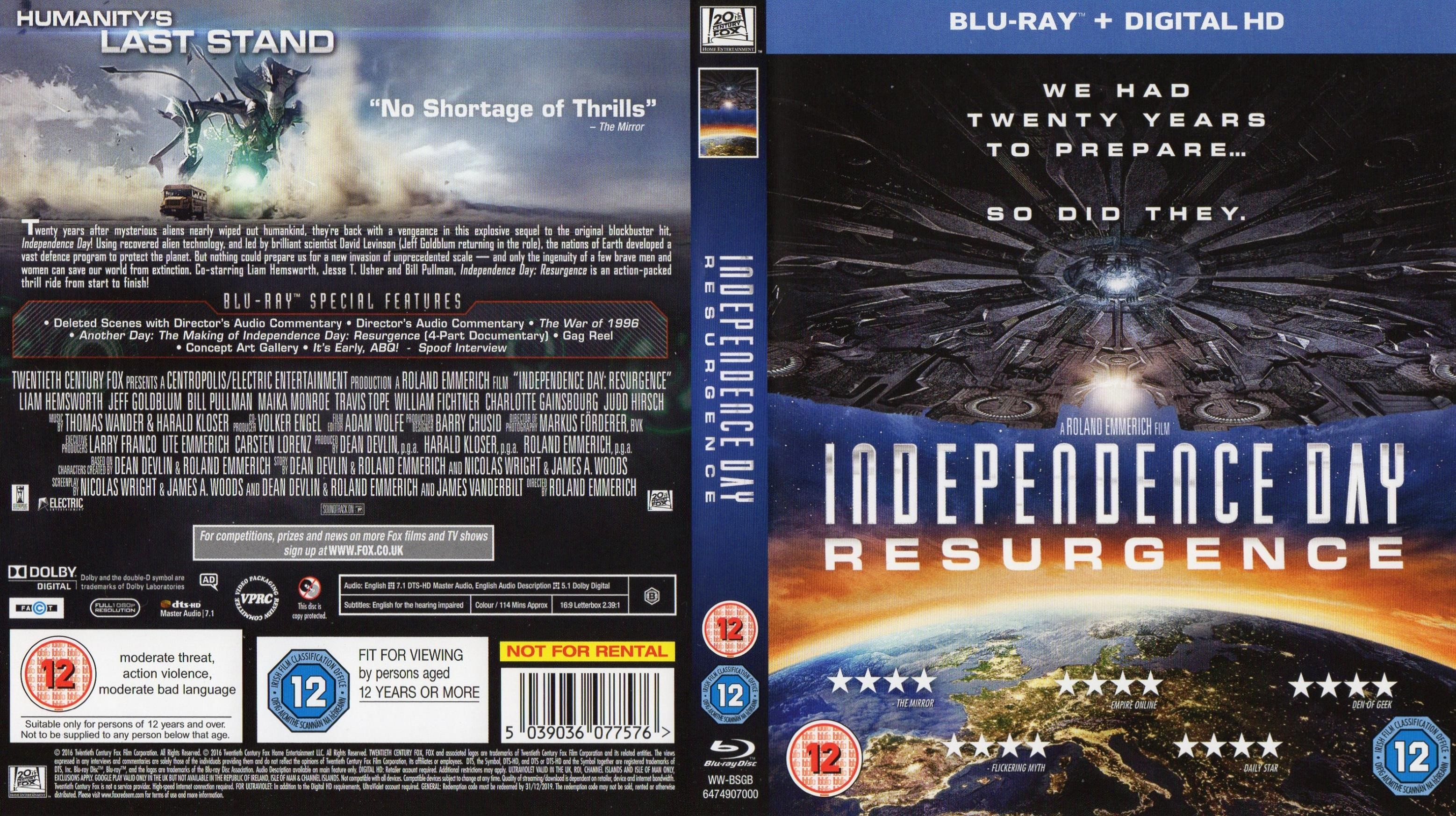 Independence Day Resurgence 2016 R2 Blu Ray Cover Label Dvd Covers And Labels