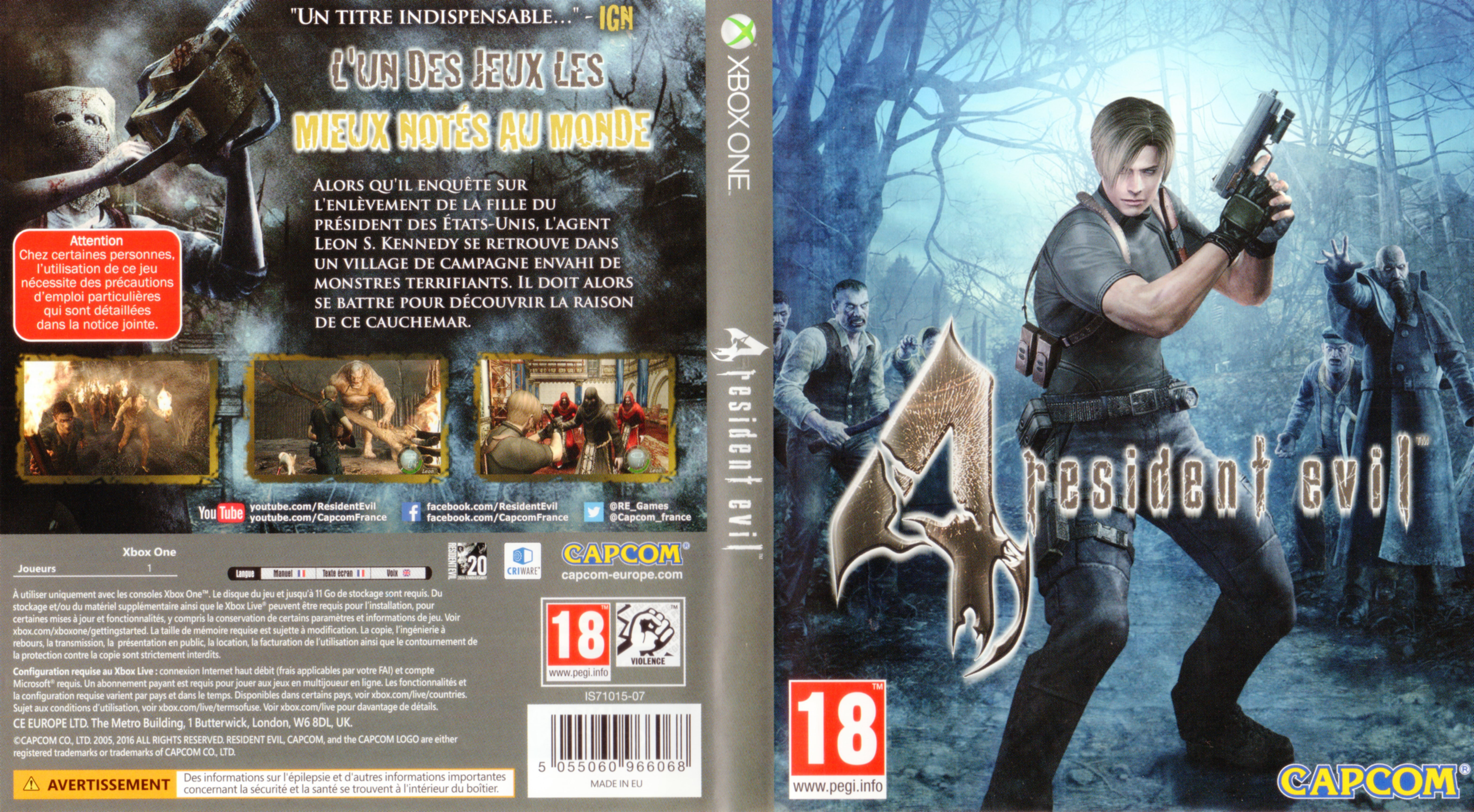 Resident Evil 4 2016 Xbox One France Cover Label Dvd Covers