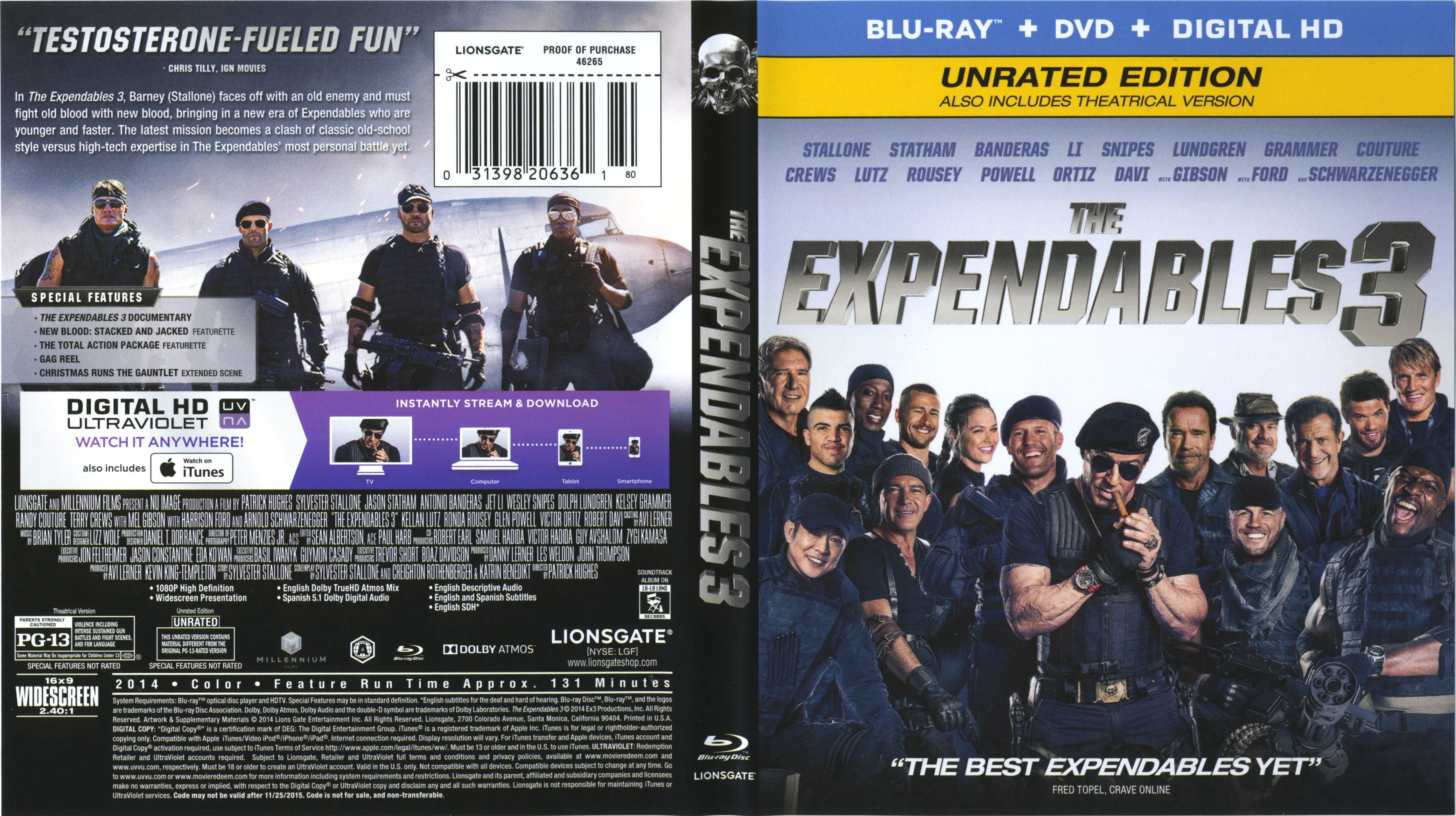 The Expendables 3 Blu-Ray Cover & Labels | Dvd Covers and ...