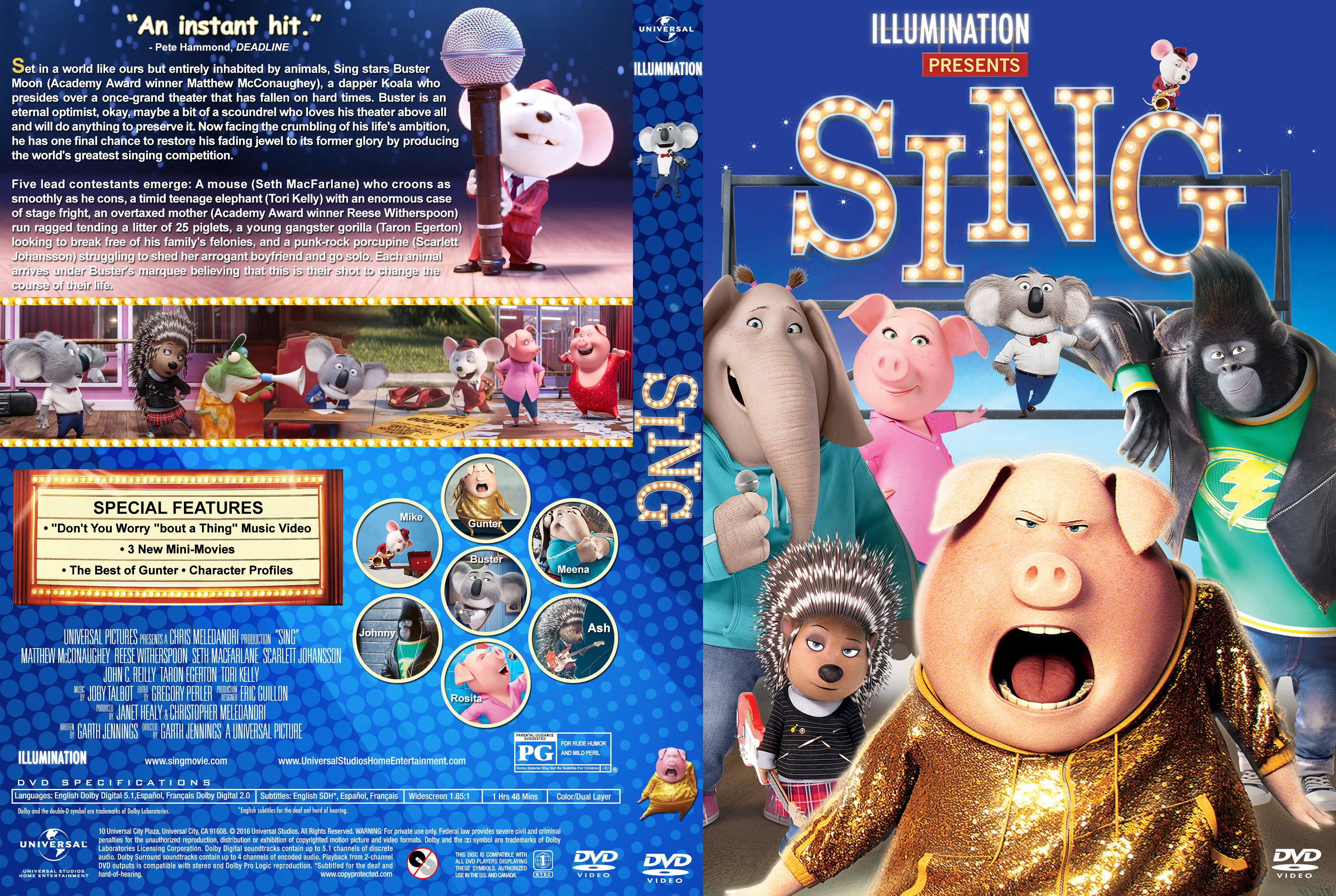Sing (2016) Covers & label | Dvd Covers and Labels