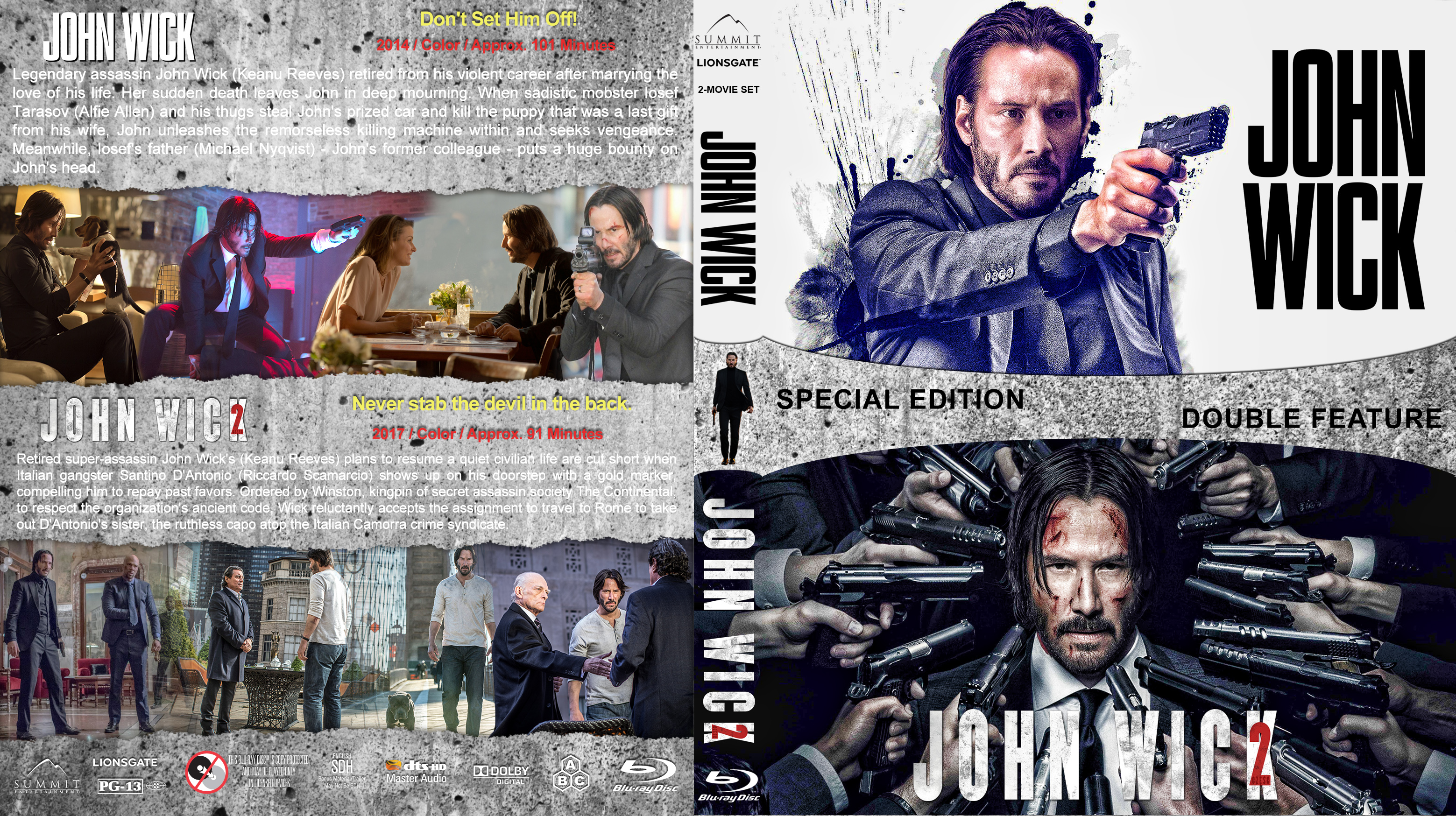 John Wick Double Feature (-2017) R1 Custom Blu-Ray Cover ...