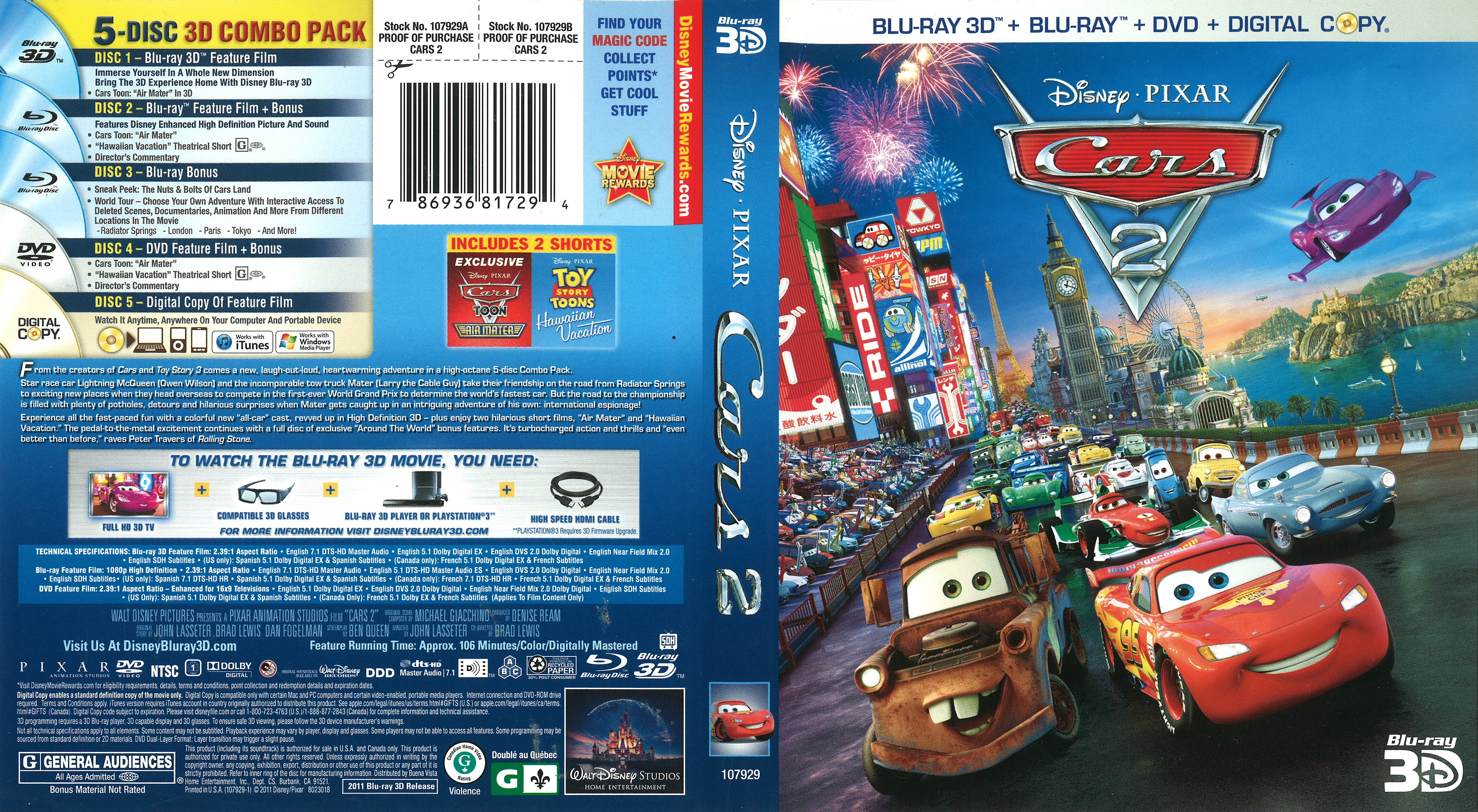 Cars 2 2011 Blu Ray Cover Dvd Covers And Labels