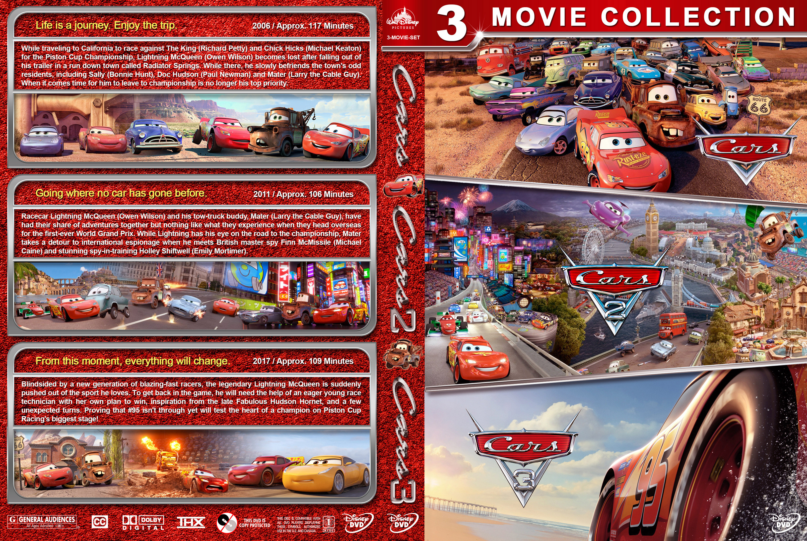 Cars Triple Feature 2006 2017 Covers Dvd Covers And Labels
