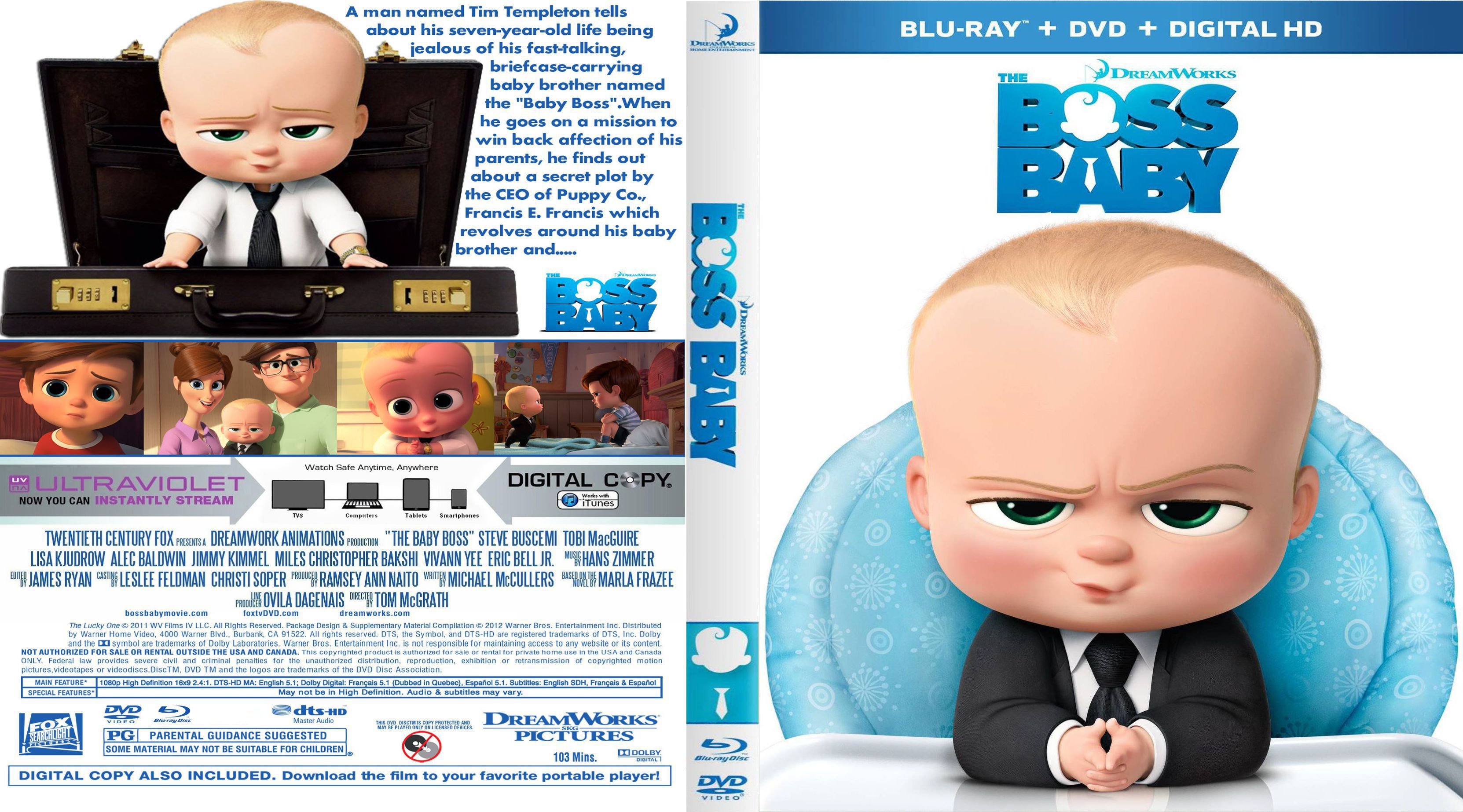 The Boss Baby 2017 R1 Custom 3d Blu Ray Covers Dvd Covers And Labels