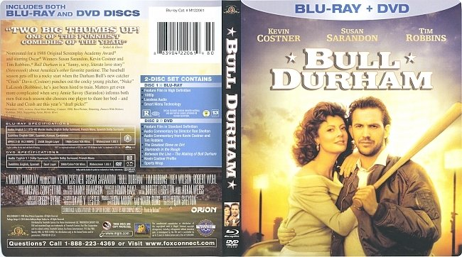 dvd cover Bull Durham (1988) Blu-Ray Cover & Labels