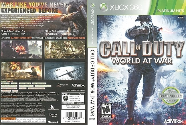 dvd cover Call of Duty: World at War (2008) Xbox 360 Cover