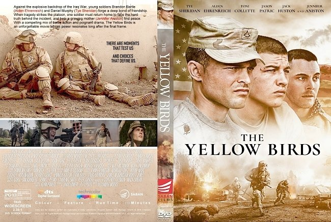 dvd cover The Yellow Birds (2018) R1 CUSTOM DVD Cover & Label