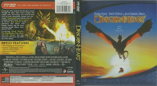 dvd cover Dragonheart (1996) R1 HD DVD Cover & Label