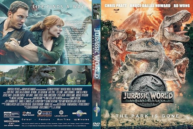 dvd cover Jurassic World : Fallen Kingdom (2018) R0 Custom DVD Cover & Label