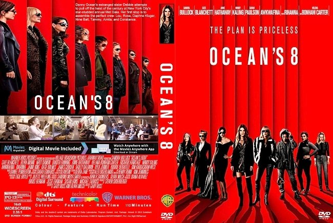 dvd cover Ocean's 8 (2018) R1 CUSTOM DVD Cover & Label