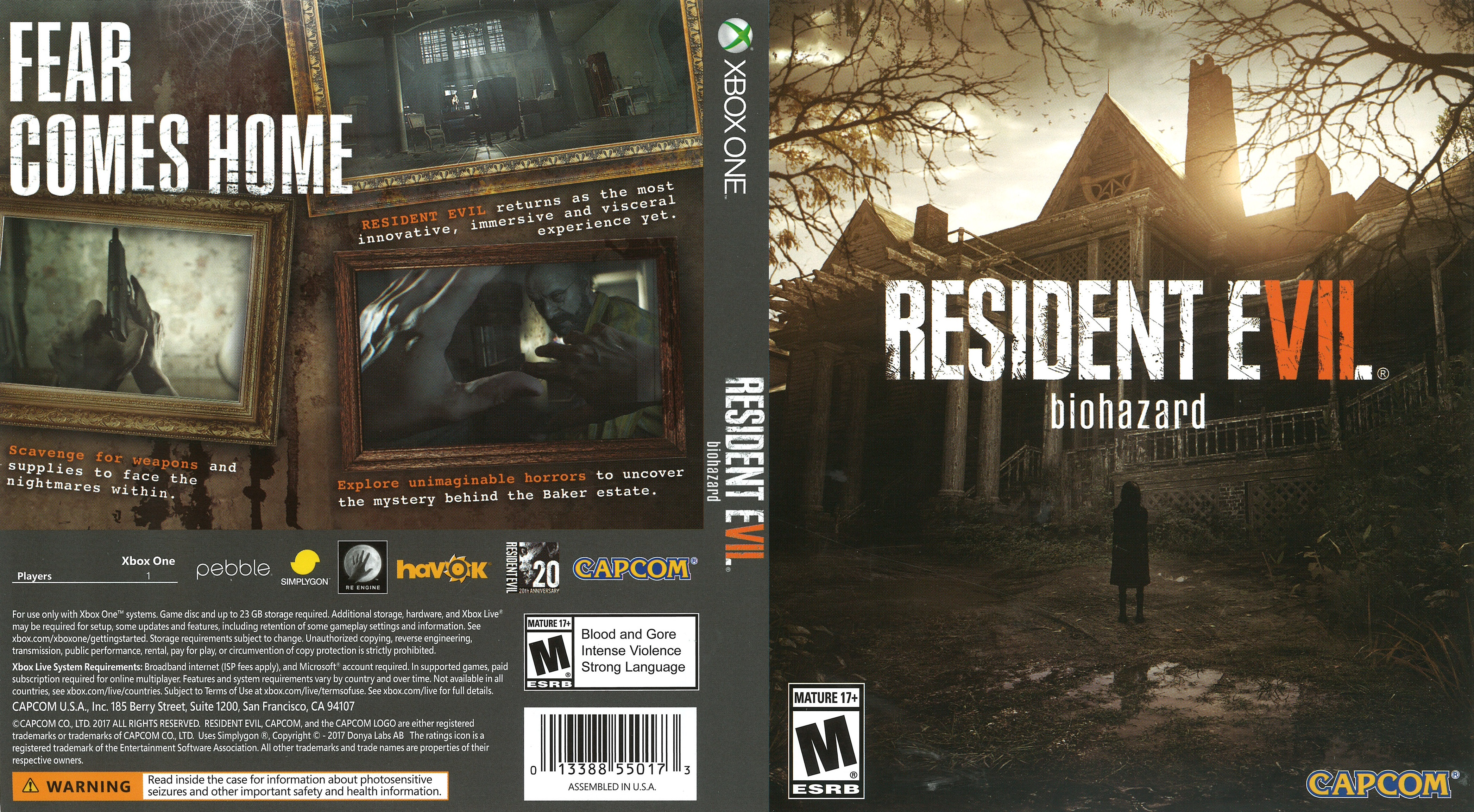 Resident Evil 7 Biohazard 2017 Xbox One Cover Dvd Covers And