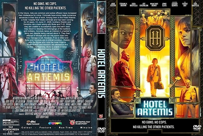 dvd cover Hotel Artemis (2018) R1 CUSTOM DVD Cover & Label