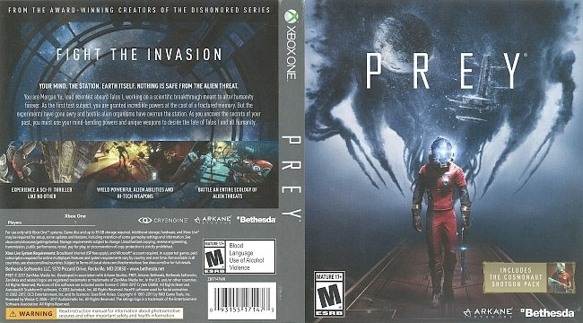 dvd cover Prey (2017) Xbox One Cover